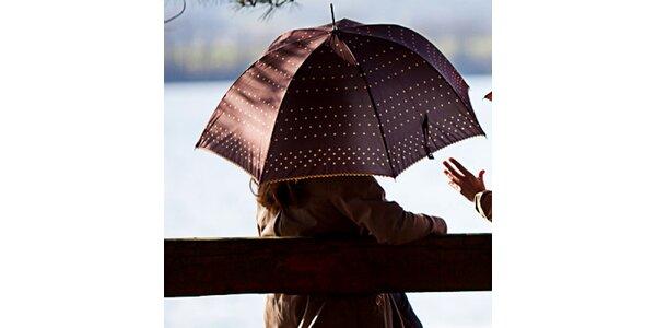 Dámsky hnedý dáždnik s bodkami Alvarez Romanelli