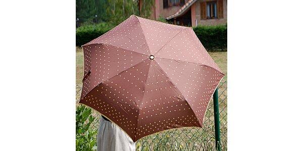 Dámsky hnedý bodkovaný dáždnik Alvarez Romanelli