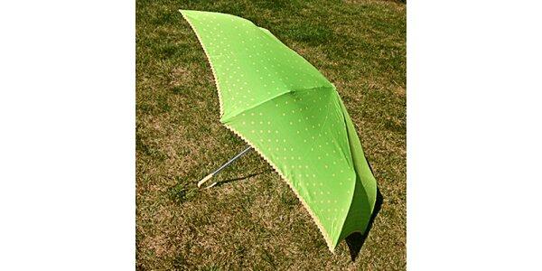 Dámsky zelený bodkovaný dáždnik Alvarez Romanelli