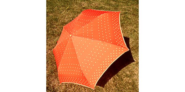 Dámsky oranžový bodkovaný dáždnik Alvarez Romanelli