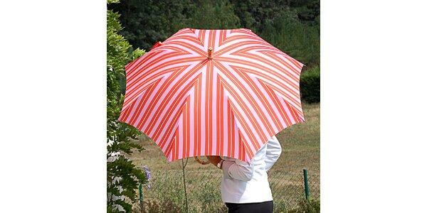 Dámsky pruhovaný oranžovo-ružový dáždnik Alvarez Romanelli