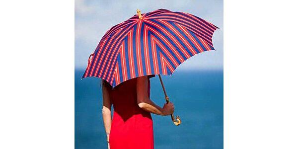 Dámsky pruhovaný červeno-modrý dáždnik Alvarez Romanelli