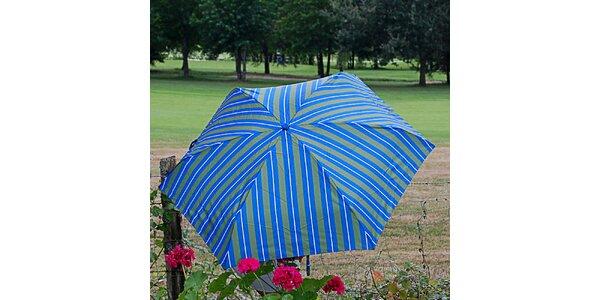 Dámsky pruhovaný zeleno-modrý dáždnik Alvarez Romanelli