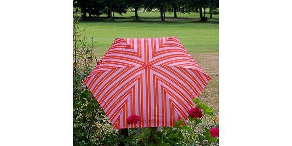 Dámsky pruhovaný ružovo-oranžový dáždnik Alvarez Romanelli