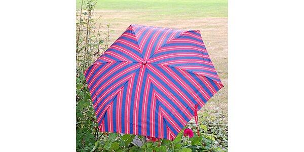 Dámsky pruhovaný modro-červený dáždnik Alvarez Romanelli