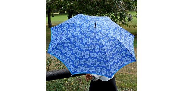 Dámsky blankytne modrý dáždnik Alvarez Romanelli s bielou vzorkou