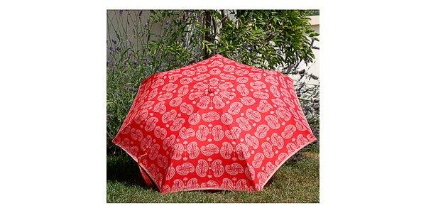 Dámsky červený dáždnik Alvarez Romanelli s bielou vzorkou