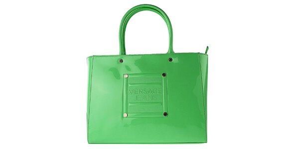 Dámska lakovaná zelená kabelka Versace Jeans
