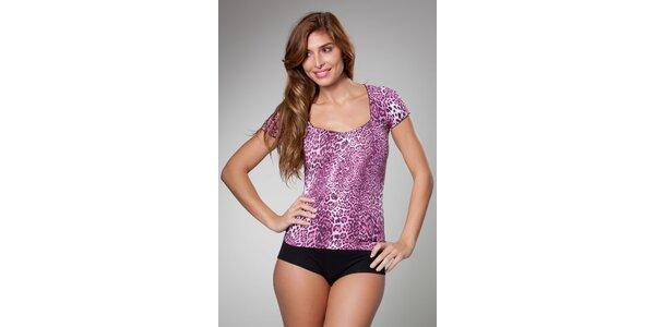 Dámske ružové leopardie tričko Frankie Morello