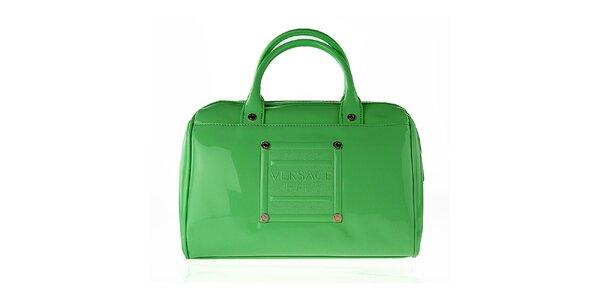 Dámska oblá lakovaná zelená kabelka Versace Jeans