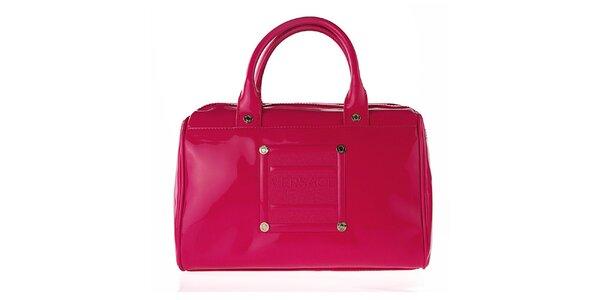 Dámska oblá lakovaná ružová kabelka Versace Jeans