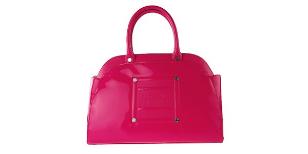 Dámska neonovo ružová lakovaná kabelka Versace Jeans