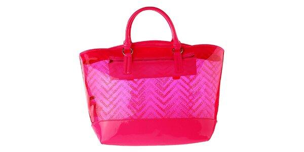 Dámska ružová transparentná kabelka Versace Jeans