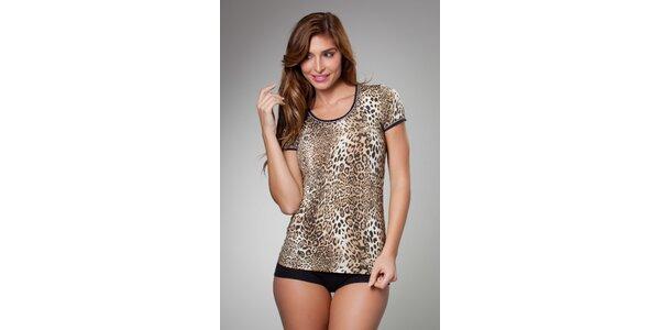 Dámske hnedé leopardie tričko Frankie Morello