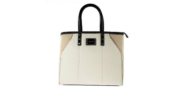 Dámska bielo-béžová kabelka s čiernymi lemami Versace Jeans