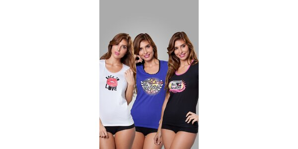 Sada troch dámskych tričiek Frankie Morello - biele, modré a čierne