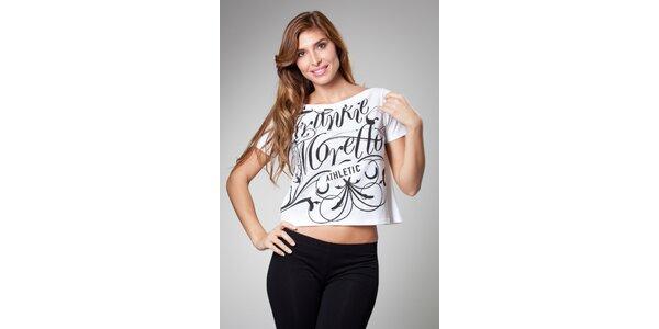 Dámske biele tričko Frankie Morello s čiernou potlačou