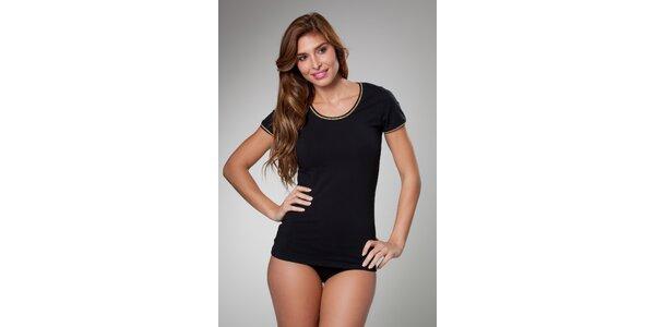 Dámske čierne tričko Frankie Morello so zlatým lemom