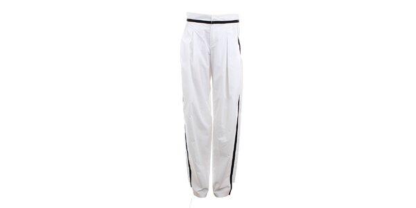 Dámske biele nohavice s čiernym prúžkom Max Mara