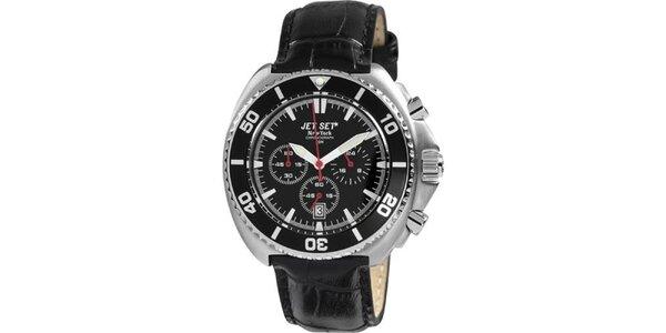 Čierne hodinky s koženým remienkom Jet Set