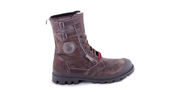 Pánske tmavo hnedé kotníčkové topánky U.S. Polo