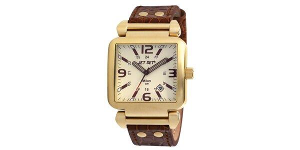 Zlaté hranaté hodinky s bielym ciferníkom Jet Set