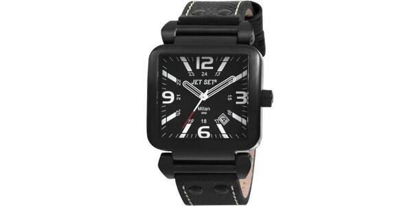 Čierne hranaté hodinky s čiernym koženým remienkom Jet Set