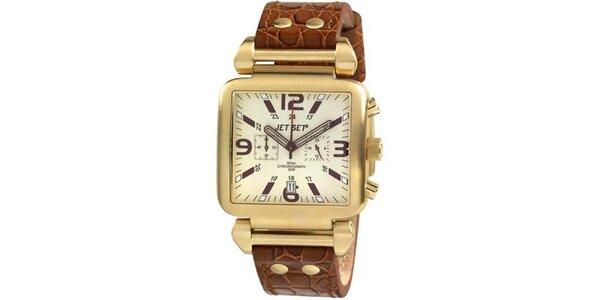Zlaté hranaté hodinky s hnedým koženým remienkom Jet Set