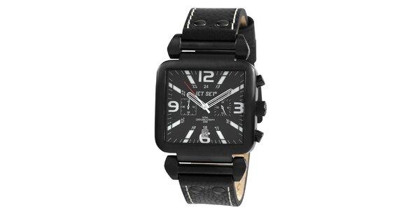Čierne hranaté hodinky s červenou sekundovkou Jet Set