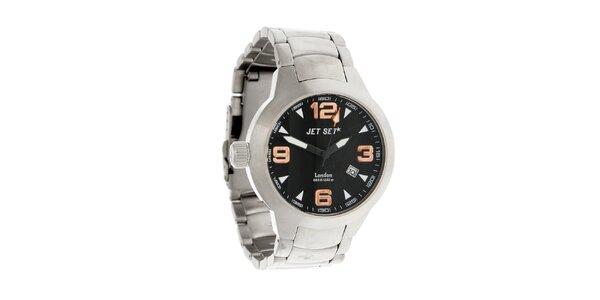 Oceľové hodinky Jet Set s čiernym ciferníkom