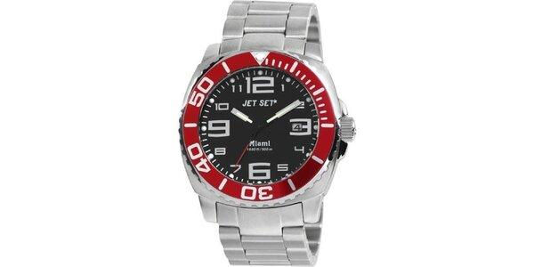 Pánske strieborno-červené analogové hodinky Jet Set