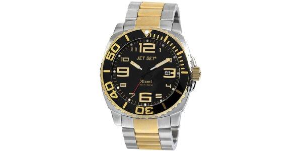 Pánske zlato-strieborné analogové hodinky Jet Set