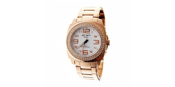 Dámske zlaté hodinky Jet Set s kamienkami