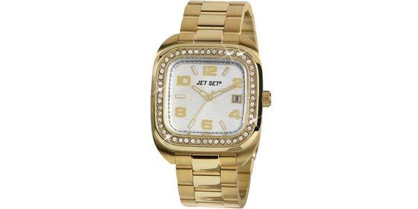 Dámske zlaté analogové hodinky osadené kryštáľmi Jet Set