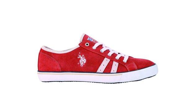 Pánske červené kožené tenisky U.S. Polo