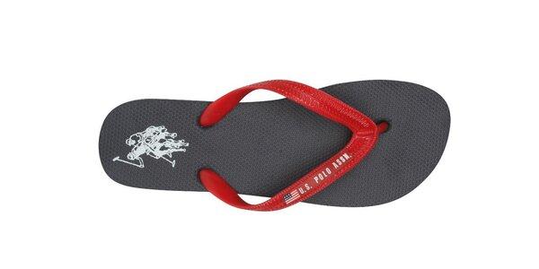 Dámske čierne žabky U.S. Polo s červenými pásikmi
