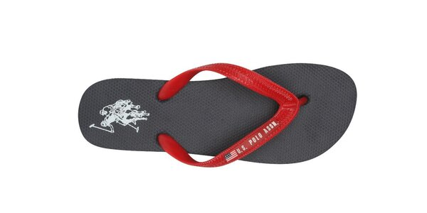 Pánske čierne žabky U.S. Polo s červenými pásikmi