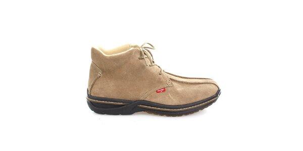 Pánske béžové semišové členkové topánky Levis