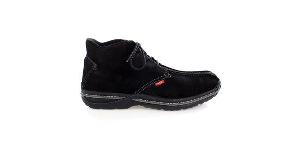 Pánske čierne semišové členkové topánky Levis