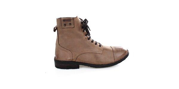 Pánske vysoké svetlo hnedé topánky Levis
