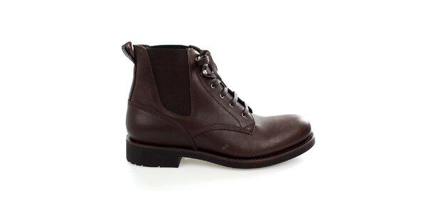 Pánske hnedé kožené členkové topánky Levis