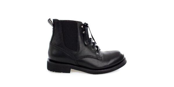 Pánske čierne kožené členkové topánky Levis
