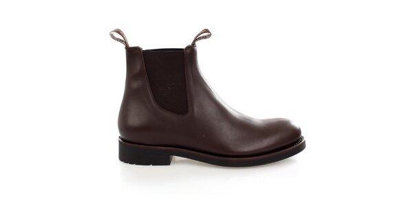 Pánske tmavo hnedé kožené chelsea boots Levis