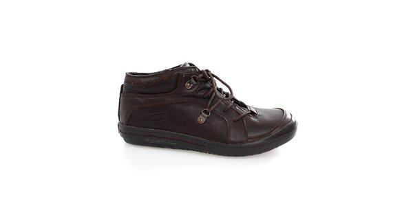 Pánske tmavo hnedé šnúrovacie topánky Levis