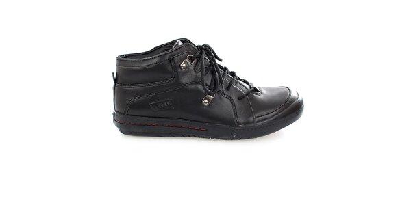 Pánske čierne šnúrovacie topánky Levis