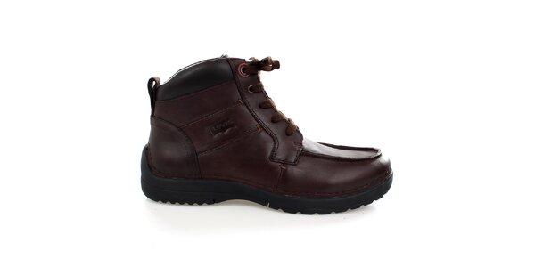 Pánske tmavo hnedé kožené členkové topánky Levis