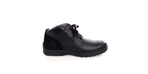 Pánske pevné čierne kožené topánky Levis