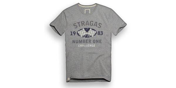 Pánske svetlo šedé tričko s potlačou Paul Stragas