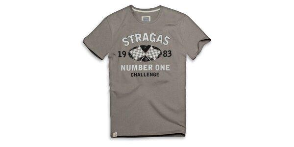 Pánske béžovo-šedé tričko s potlačou Paul Stragas