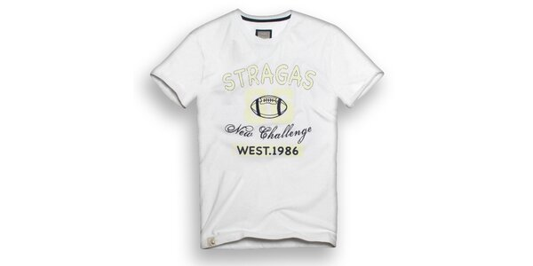 Pánske biele tričko s potlačou Paul Stragas